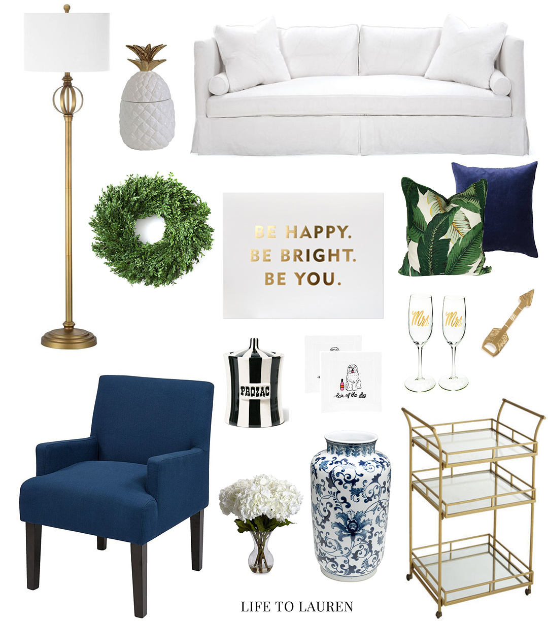 Navy Blue Greed and Gold Living Room
