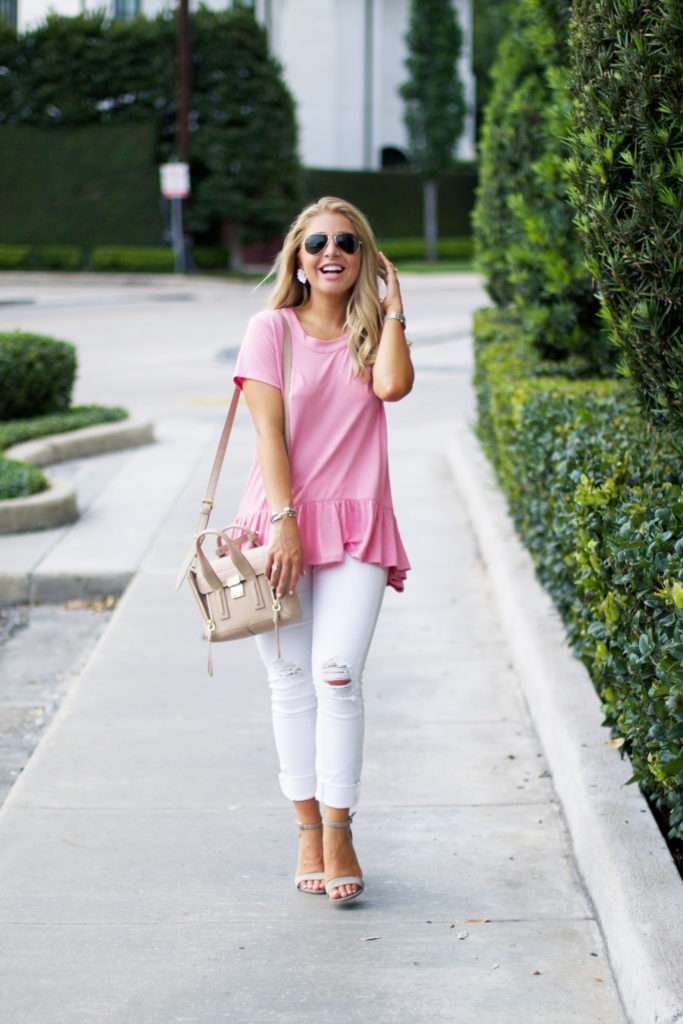 Pink Ruffle Hem Top